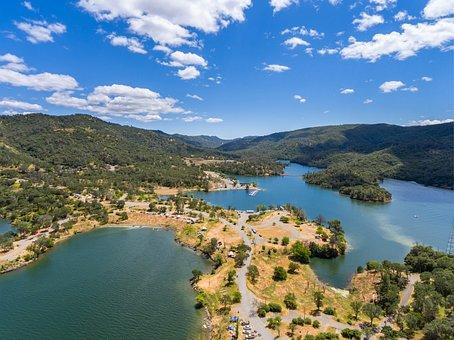 Drone, California, Lake, Colorful, Outdoor, Rocks, Air