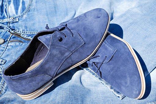 Shoe, Leather, Pair, Suede Shoe, Blue, Women's Shoes