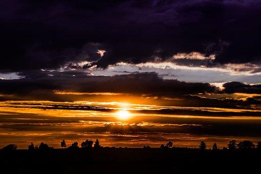 Sunset, Setting Sun, Abendstimmung, Dark Clouds