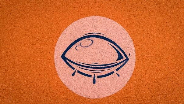 Graffiti, Eye, Closed Eye, Stylized, Orange, Decoration