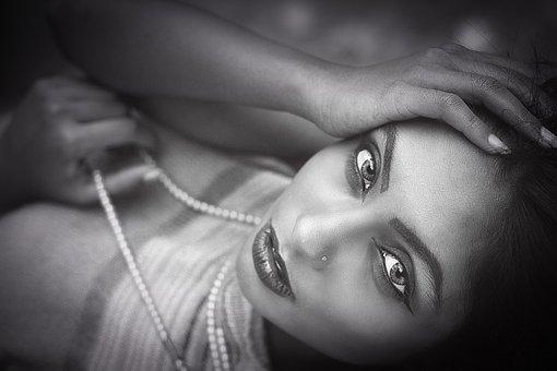 Female Portrait, Black White, Female, Portrait, Girl