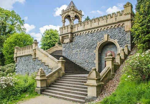 Stairs, Stone, Gradually, Grass, Away, Rise, Upward