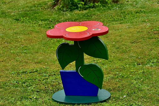 Side Table, Hand Labor, Wood, Hand Painted, Flower