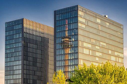 Hotel, Düsseldorf, Architecture, Facade, Skyline, Hyatt