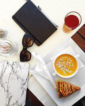 Notebook, Lunch, Work, Glasses