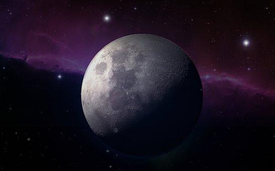 Moon, Full Moon, Moonlight, Star, Stars Fog, Close, Sky