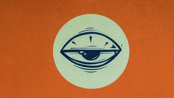 Graffiti, Eye, Half-opened Eye, Stylized, Orange