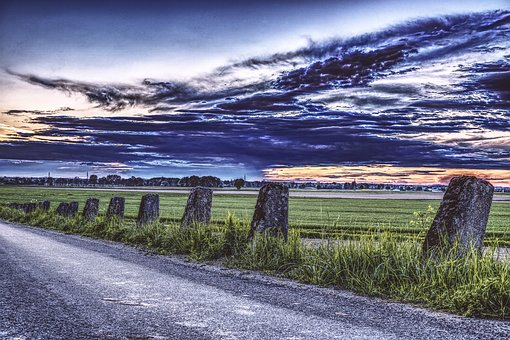 Road, Landscape, Clouds, Sky, Away, Still, Old, Germany