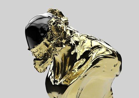 Gold, Mecha, Robot, 3d