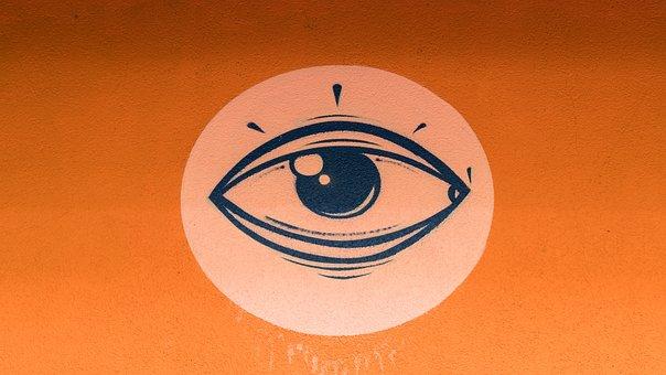 Graffiti, Eye, Stylized, Orange, Decoration, Painted