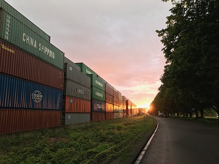 Container, Sun, Industry, Sky, Sunset, Evening, Port