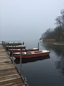 Mist, Boats, Mooring, Water, Lake, Calm, Scenic, Fog