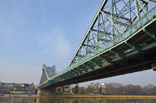 Dresden, Blue Wonder, Steel Bridge, Elbe, Architecture