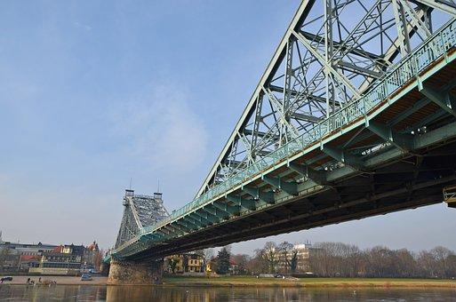 Dresden, Blue Wonder, Steel Bridge, Elbe, Architecture
