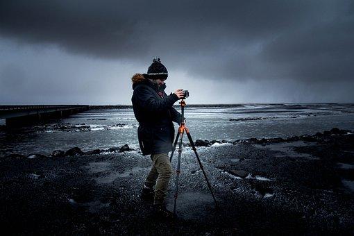 Photographer, Tripod, Camera, Equipment, Photography