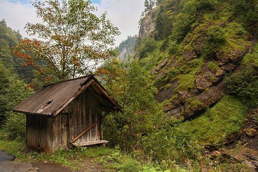 Austria, Voralberg, Montafon, Log Cabin, Hut, Mountains