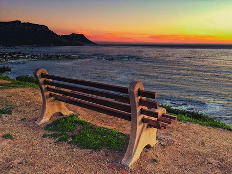 Cape Town, Camps Bay, South Africa, Bench, Sunset, Sea