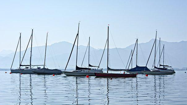 Boats, Lake, Chiemsee, Anchorage, Port, Water, Pier