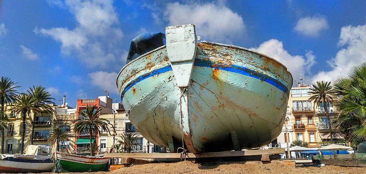 Boat, Old Wooden, Beach, Barcelona