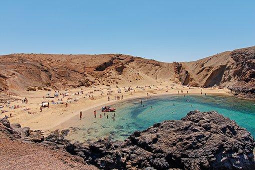 Beach, Lanzarote, Canary Islands, Summer, Holiday