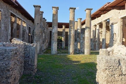 Pompeii, Italy, Roman, Architecture, Columns, Landmark