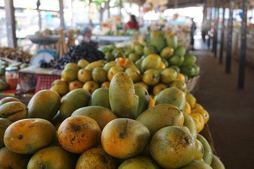 Mango, Fruit, Market, Fresh, Tropical, Yellow, Stand