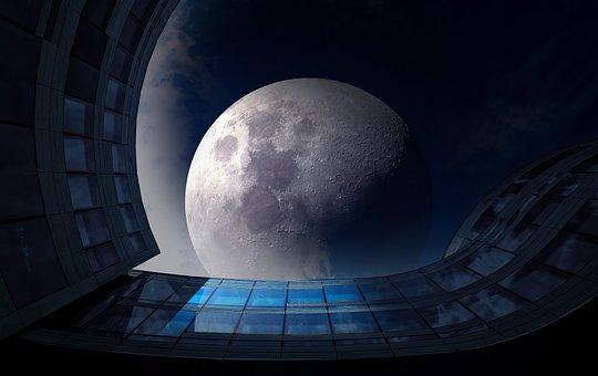 Full Moon, Night, Glass Facade, Sky, Darkness