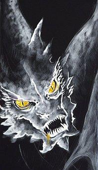 Dragon, Dragoon, Illustration, Night, Drawing, Lights