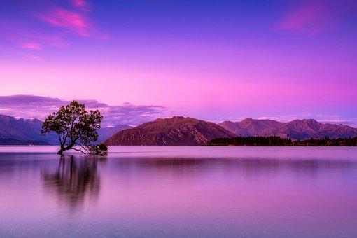 New Zealand, Sky, Clouds, Mountains, Fog, Sunrise
