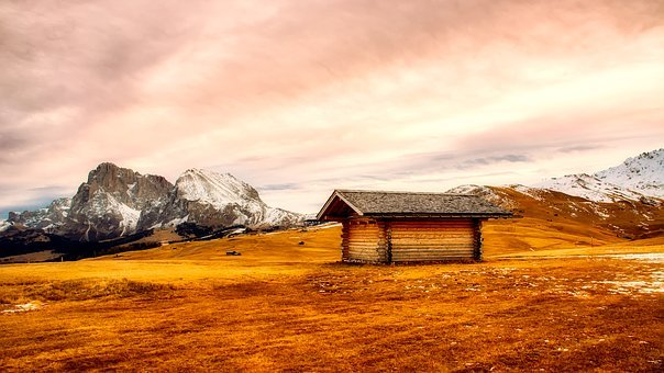 Panorama, Mountains, Snow, Meadow, Log Cabin, Shelter