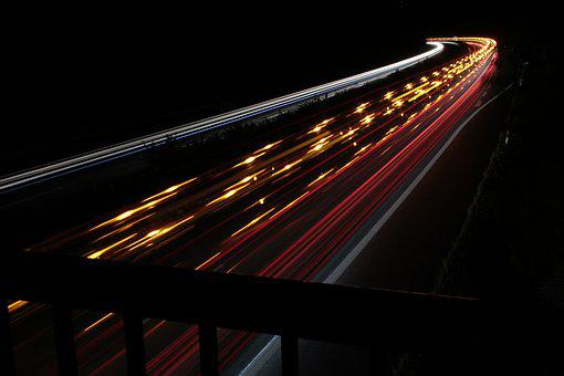 Highway, A44, Night, Traffic, Spotlight, Long Exposure