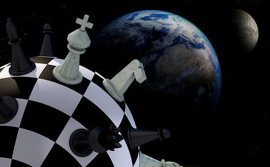 Chess, Figures, Space, Earth, Planet, Chess Board, Ball