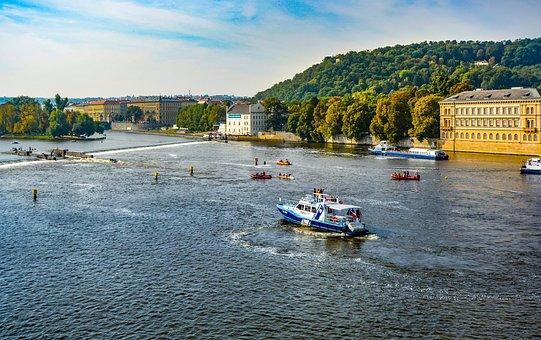 Prague, River, Vltava, Travel, Czech, Europe, City