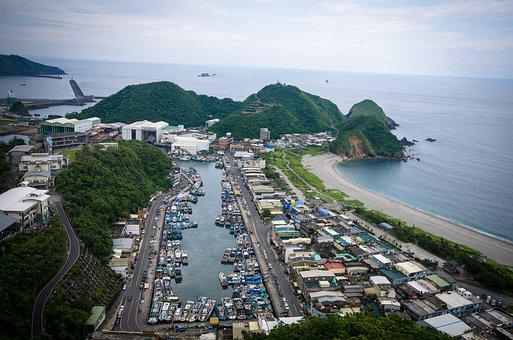 Top View Of Fishing Boats, Fishing Boats Port, Sea