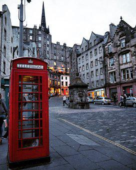 Edinburgh, Red Phone Booth, Scotland, Street