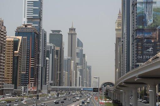 Dubai, Streets, Skyscrapers, Uae, Skyscraper, Autos