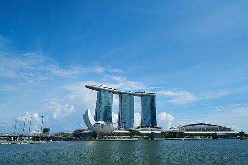 Singapore, Hotel, Blue, Composition, Skyscraper, Travel
