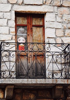 Balcony, Window, Wrought Iron, Granite, Ancient