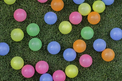Colorful Balls On Grass Field, Balls, Grass, Colorful