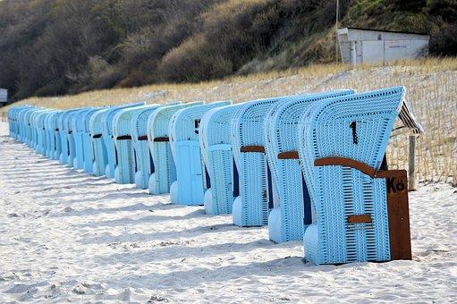 Beach, Baltic Sea, Beach Chair, Clubs, Bank, Sea, Blue