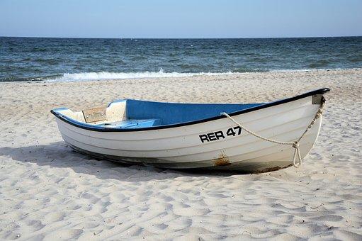 Boot, Ship, Cutter, Baltic Sea, Sea, Beach, Sand, Wide