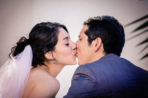 Kissing, Wedding Couple, Bride, Couple, Wedding, Love