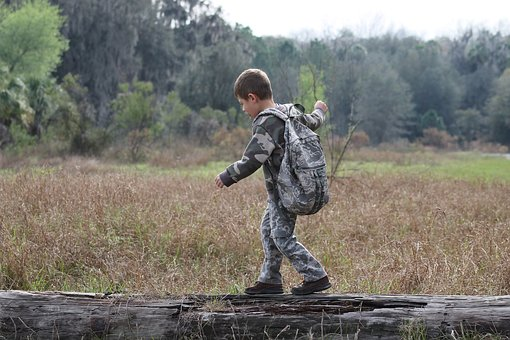 Young Boy, Camouflage, Outdoors, Nature, Kid, Child