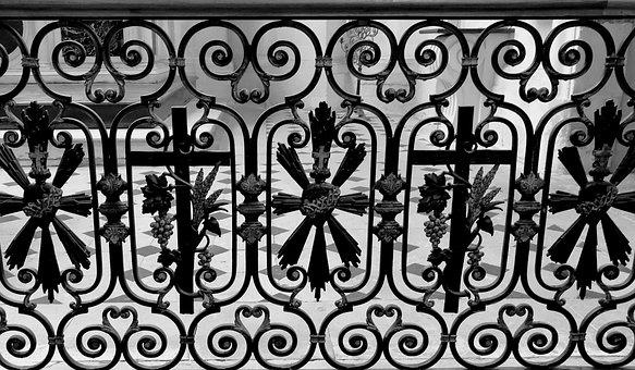 Balustrade, Church, Grid, Iron, Forged