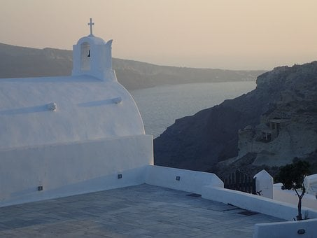 Santorini, Greece, Caldera, Cross, Architecture