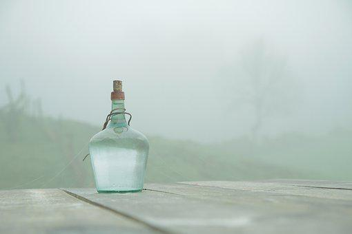 Bottle, Table, Fog, Wooden Table, Cobweb, Calm, Soledad