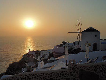 Mill, Greece, Santorini, Mediterranean Sea, Horizon
