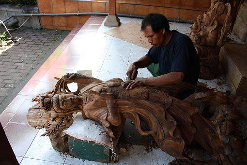 Bali, Indonesia, Tropical, Wood, Carving, Outdoor