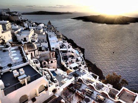 Santorini, Island, Caldera, Volcano, Greece