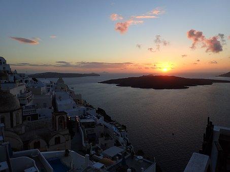Sunset, Santorini, Ile, Greece, Mediterranean, Volcano
